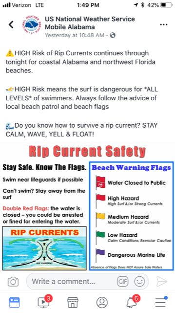 NWS Rip Current Sign
